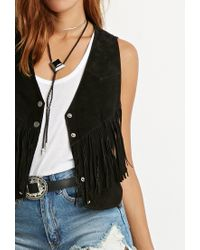Forever 21 | Black Genuine Suede Fringed Vest | Lyst