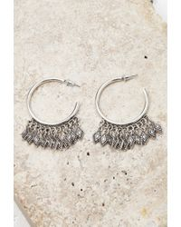 Forever 21 - Metallic Etched Charms Hoop Earrings - Lyst