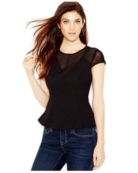Guess | Black Illusion Peplum Top | Lyst
