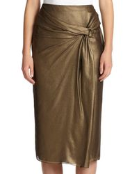 Burberry - Metallic Draped Silk Skirt - Lyst