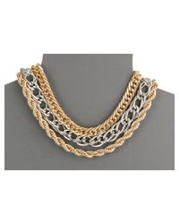 Guess | Metallic Triple Chain Collar Necklace | Lyst
