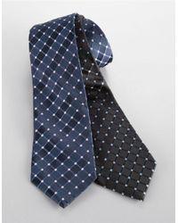 Black & Brown - Blue Classic Fit Grid-print Silk Tie for Men - Lyst