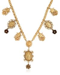 Dolce & Gabbana | Black Gold Plated Metal Pendant Necklace | Lyst