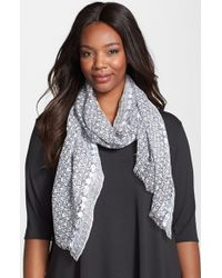 Eileen Fisher - Black Embroidered Print Scarf - Lyst