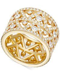 Swarovski | Metallic Gold-tone Crystal Art Deco Ring | Lyst