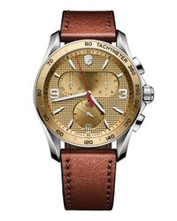 Victorinox | Metallic 'chrono Classic' Leather Strap Watch for Men | Lyst