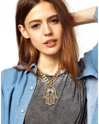 ASOS - Metallic Limited Edition Hamsa Pendant Necklace - Lyst