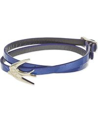 McQ | Mini Swallow Leather Wrap Bracelet, Women's, Hologram Blue | Lyst