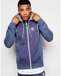 Adidas Originals - Blue Zip Up Hoodie With 3d Logo for Men - Lyst