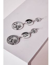 Missguided | Metallic Coin Drop Earrings Silver | Lyst