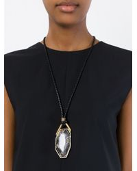 Lanvin - Black Stone Pendant Necklace - Lyst