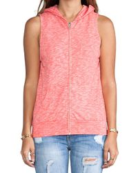 Monrow | Pink Vintage Sleeveless Hoody in Coral | Lyst