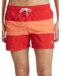 Maison Kitsuné | Red Striped Swim Trunks for Men | Lyst