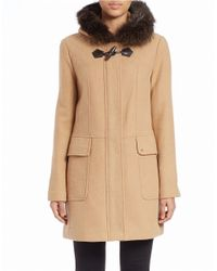 Ellen Tracy | Natural Blue Fox Fur-trimmed Toggle Coat | Lyst
