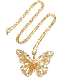 Alexander McQueen | Metallic Goldtone Swarovski Crystal Butterfly Necklace | Lyst