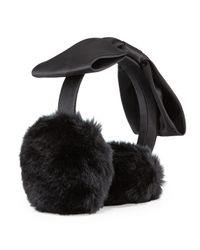 kate spade new york | Black Faux-fur Bow Earmuffs | Lyst