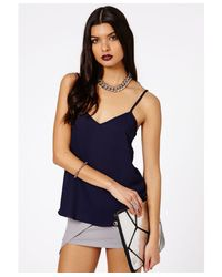 Missguided - Blue Samala Chiffon Cami Top In Navy - Lyst