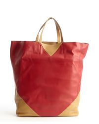 Céline - Red And Camel Colorblock Leather Tote Bag - Lyst