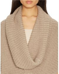 Lauren by Ralph Lauren | Natural Ribbed Cowlneck Sweater | Lyst