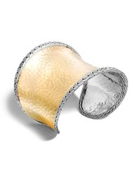 John Hardy - Metallic Classic Chain 61mm Cuff In Silver And 18k Gold - Lyst