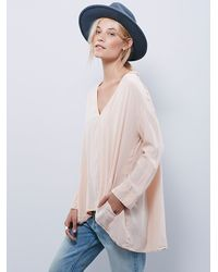 Free People - Pink Womens Long Sleeve Silk Sensual Blouse - Lyst