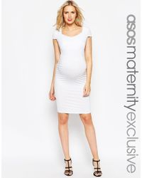 ASOS | White Maternity Bodycon Dress With Sweetheart Neck And Capped Sleeve | Lyst