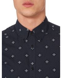 Ben Sherman - Blue Mosaic Geo Pattern Long Sleeve Button Down Shirt for Men - Lyst