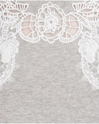 Zara | Gray Top With Embroidered Front | Lyst