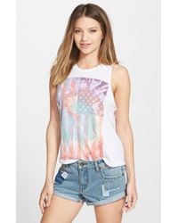 Billabong - White 'summer Fun Society' Graphic Muscle Tee - Lyst