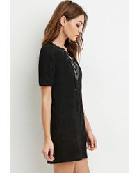 Forever 21 | Black Faux Suede Lace-up Shift Dress | Lyst