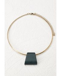 Forever 21 | Green Faux Stone Pendant Collar Necklace | Lyst