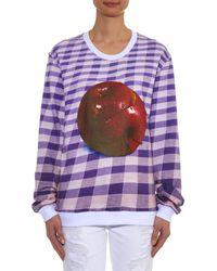 MSGM - Purple Apple-Print Checked Sweatshirt - Lyst