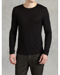 John Varvatos - Black Modal Wool Crewneck for Men - Lyst