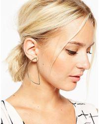 ASOS | Metallic Fine Semi Circle Earrings | Lyst
