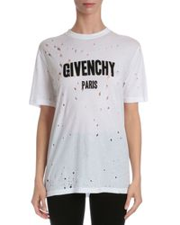 Givenchy - White Distressed Logo T-shirt - Lyst