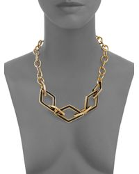Kenneth Jay Lane - Metallic Kite Open Link & Chain Necklace - Lyst