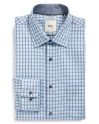 W.r.k. | Blue Extra Trim Fit Check Dress Shirt for Men | Lyst