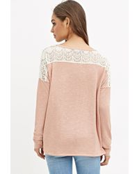Forever 21 | Pink Crochet-paneled Slub Knit Top | Lyst