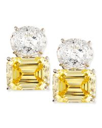 Fantasia by Deserio - White Oval & Canary Emerald-cut Stud Earrings - Lyst