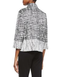 Lafayette 148 New York - Gray Darian 3/4-sleeve Printed Topper Jacket - Lyst