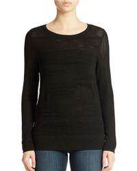 Calvin Klein Jeans | Black Textured Crewneck Sweater | Lyst
