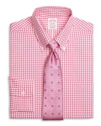 Brooks Brothers - Orange Non-iron Regent Fit Large Gingham Sport Shirt for Men - Lyst