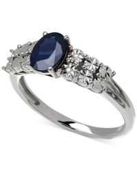 Macy's | Blue Sapphire (1 Ct. T.w.) And Diamond Accent Ring In 14k White Gold | Lyst