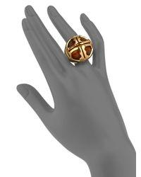 Tory Burch - Orange Logo Dome Ring - Lyst