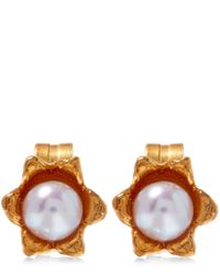 Alex Monroe - Metallic Yellow Gold-plated Lily Of The Valley Pearl Stud Earrings - Lyst