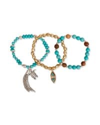 Lucky Brand - Blue Twotone Sea Life Charm Beaded Stretch Bracelet Set - Lyst