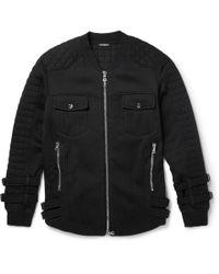 Balmain | Black Quilted Fleeceback Cottonjersey Jacket for Men | Lyst
