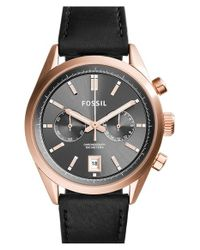 Fossil - Black 'del Rey' Chronograph Leather Strap Watch - Lyst