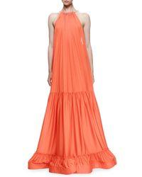 Stella McCartney - Red Plisse Full-skirt Halter Gown - Lyst