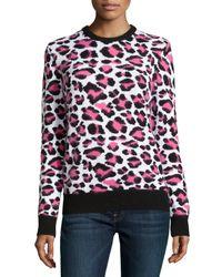 Michael Kors - Multicolor Long-sleeve Animal-print Sweater - Lyst